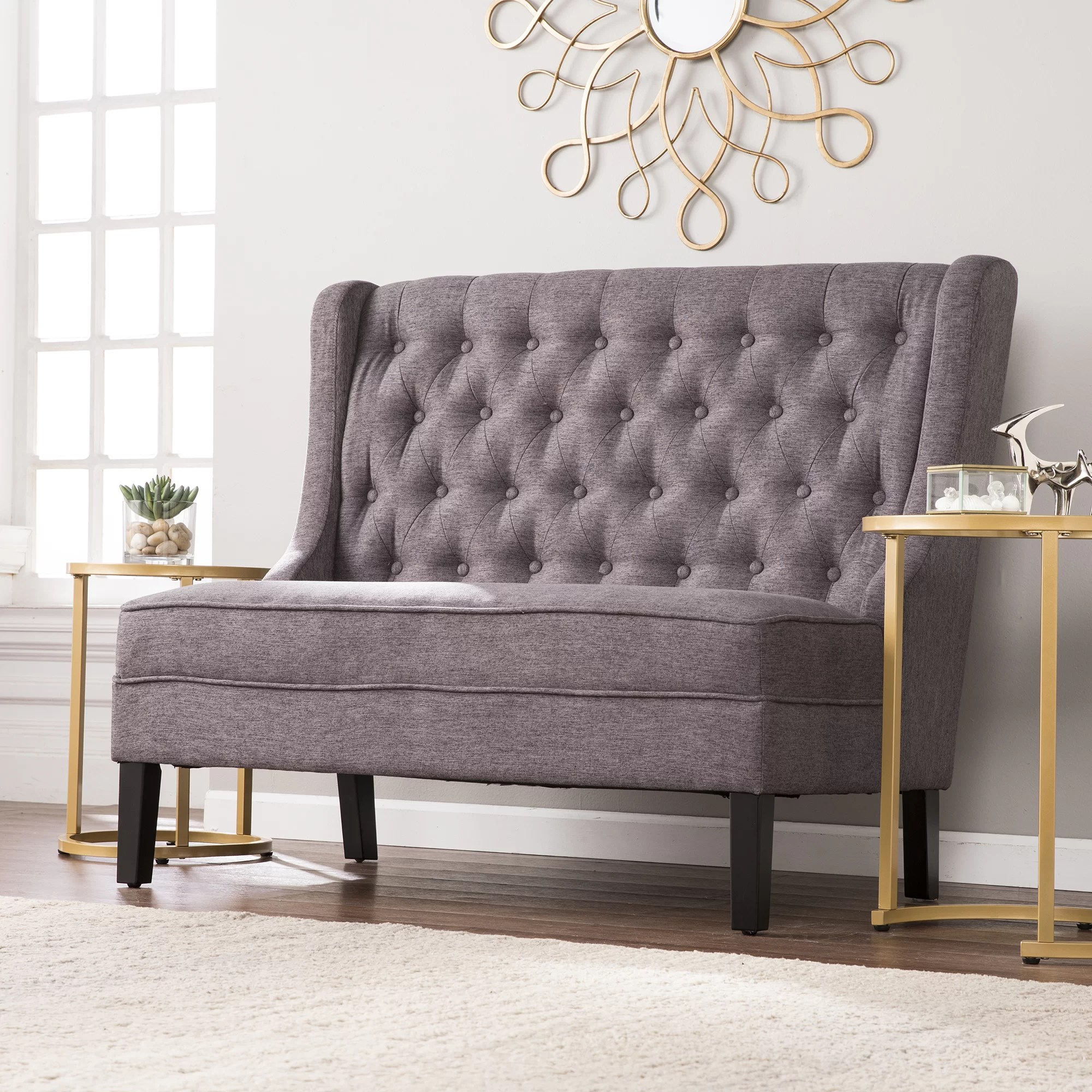 living room settee benches brown furniture sets alcott hill halpin high back tufted bench reviews wayfair