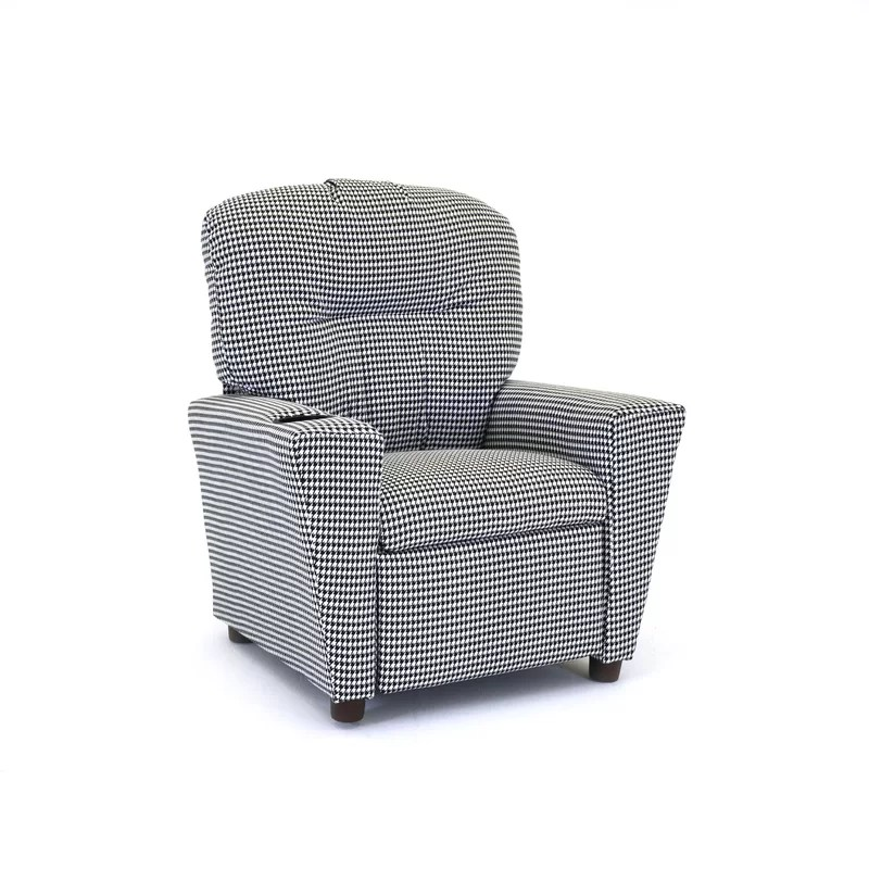 KidzWorld Houndstooth Kids Cotton Recliner With Cup Holder