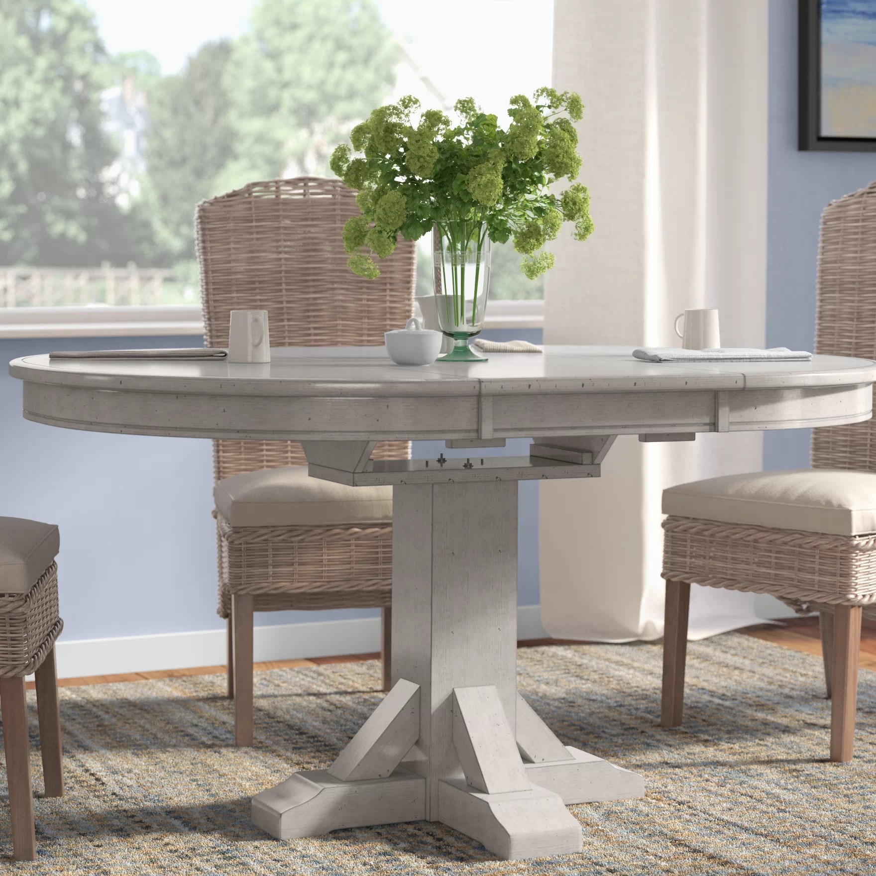 pedestal kitchen table aide blender rosecliff heights rutledge extendable dining reviews wayfair