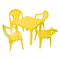 Kids Chair Set Cartoon Beach Grandsoleil 5 Piece Square Table And