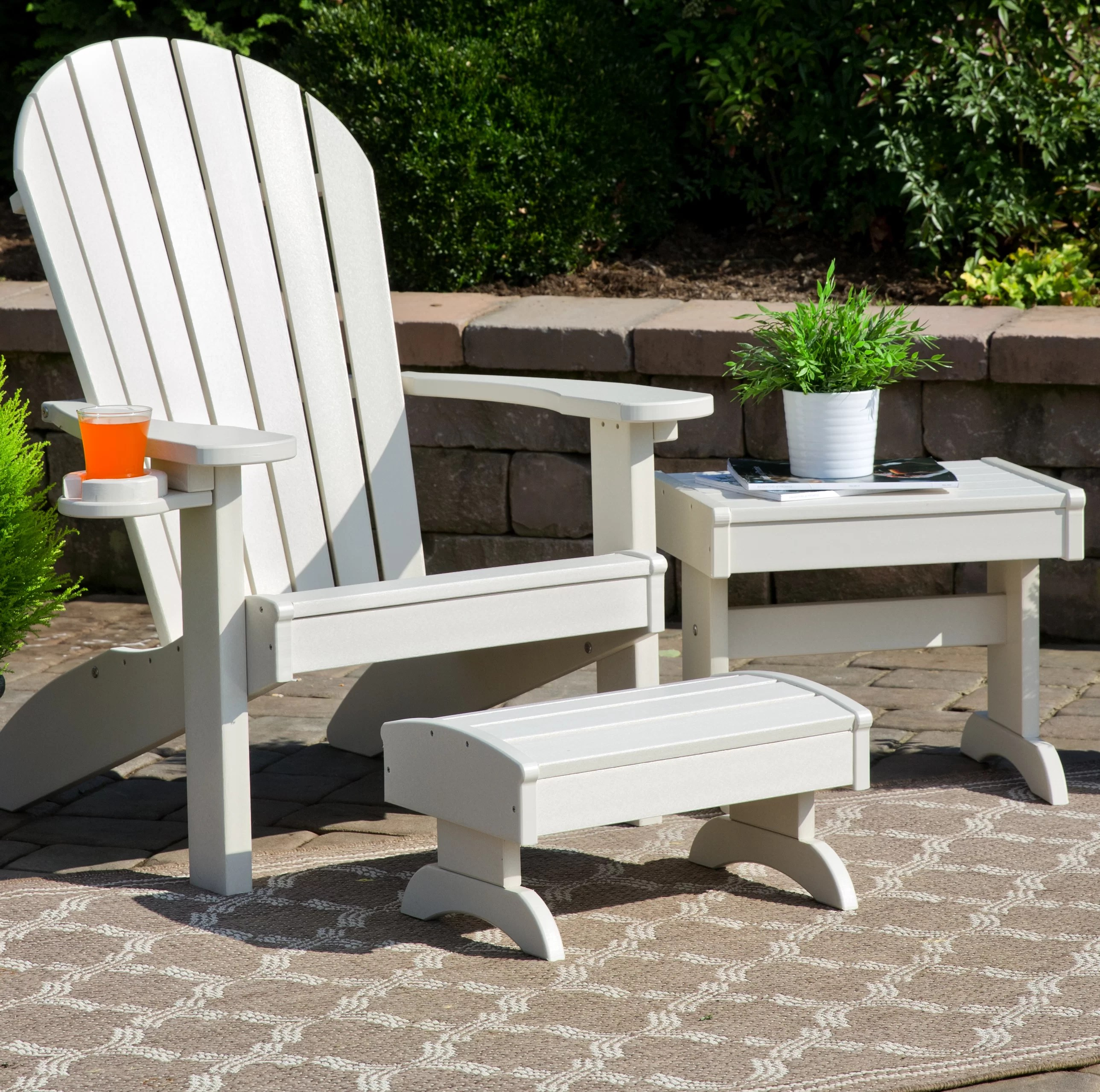 Adirondack Chair Set Kells 3 Piece Plastic Adirondack Chair Set With Ottoman And Table