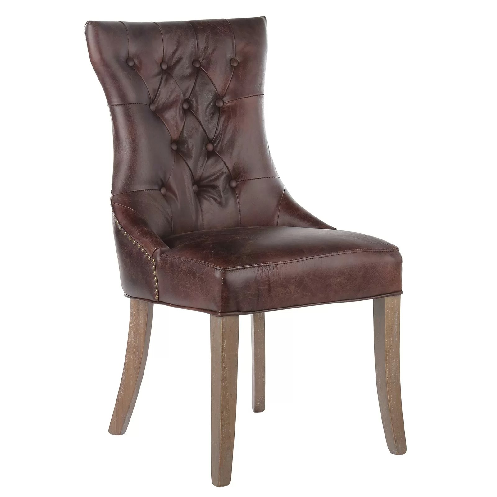 leather tufted dining chair wedding covers newmarket joseph allen mustang genuine upholstered