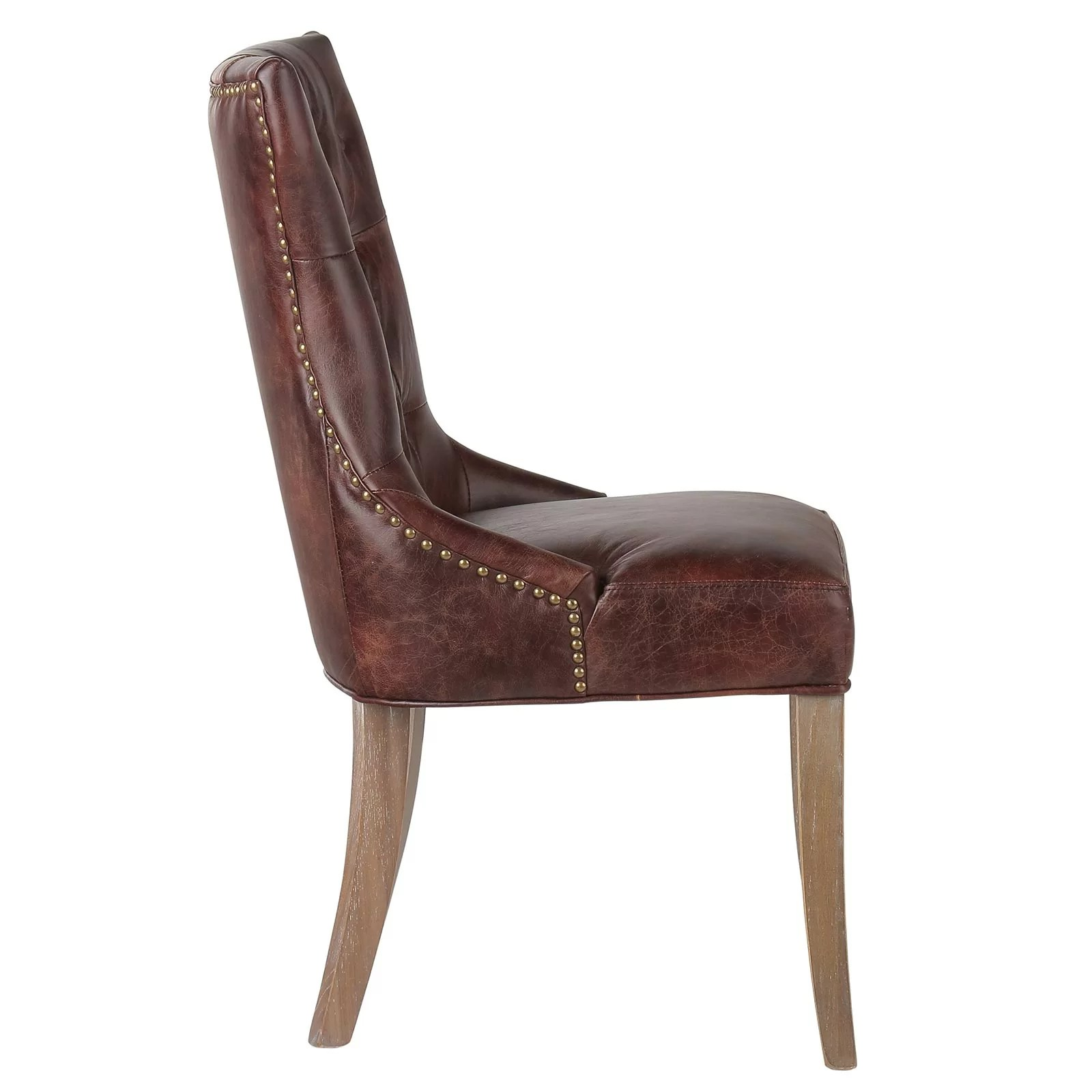 leather tufted dining chair fabrics for kitchen chairs joseph allen mustang genuine upholstered