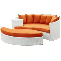 Orange Wicker Chair Cushions Clearwater Beach Rentals Brayden Studio Greening Outdoor Daybed With Ottoman