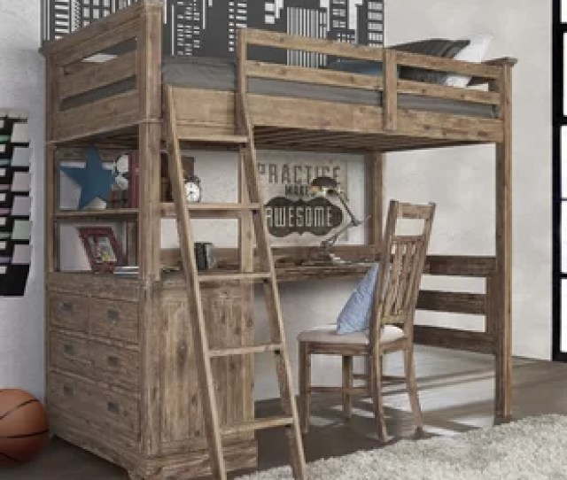 Bryon Industrial Loft Twin Bed With 4 Drawer Chest