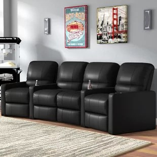theater chairs home entertainment stool chair harvey norman seating you ll love wayfair center curved row of 4