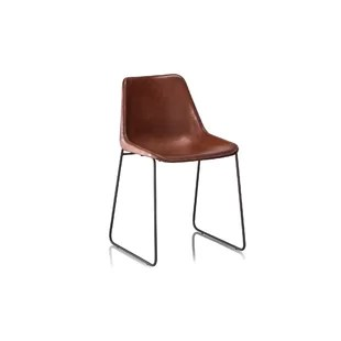modern leather dining chairs with arms lounge beach chair target contemporary tan allmodern hudson genuine upholstered