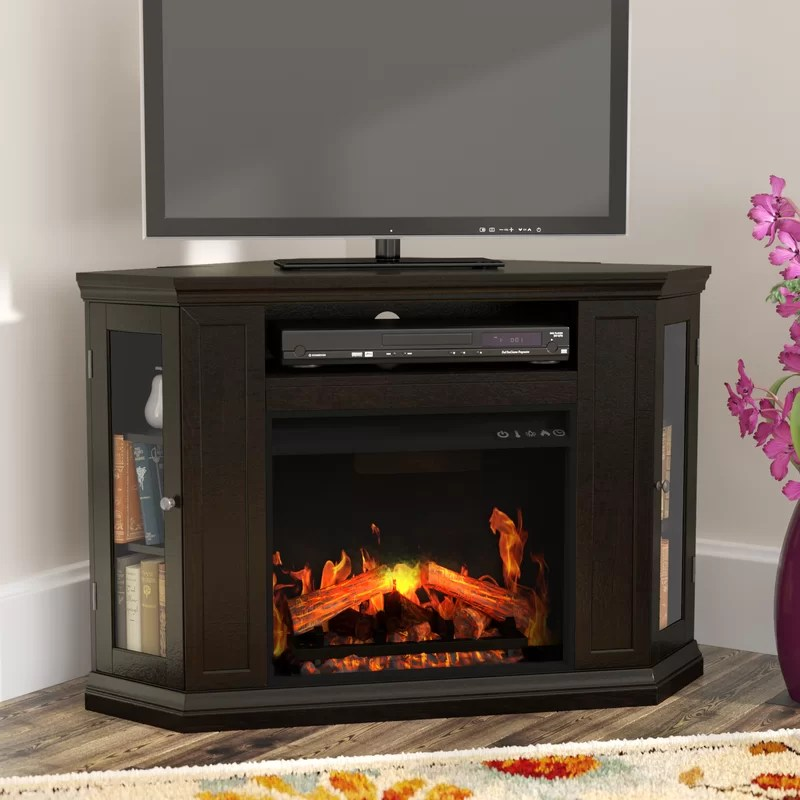 Alcott Hill Dunminning Corner TV Stand With Fireplace