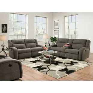 recliner living room set blue with brown furniture wayfair maverick reclining configurable