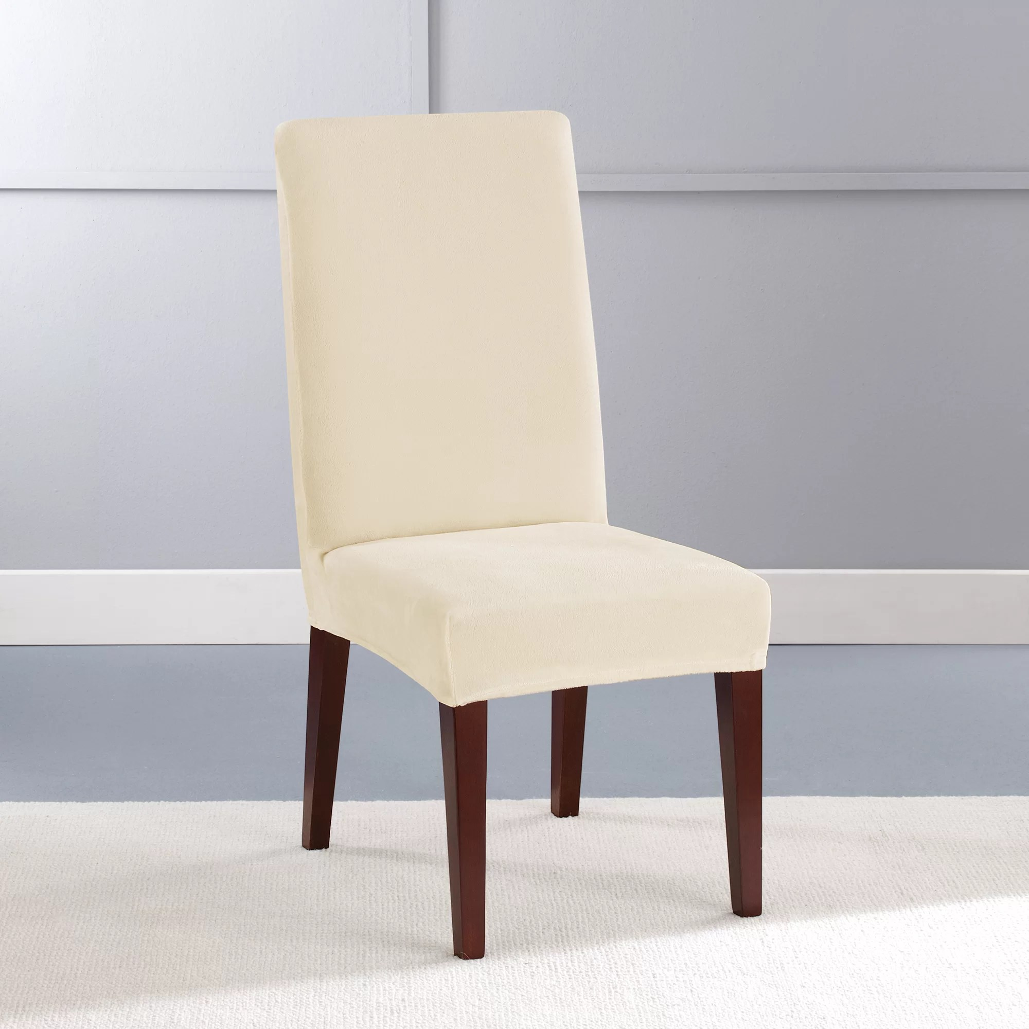 Dining Chair Slipcover Stretch Plush Short Polyester Dining Chair Slipcover