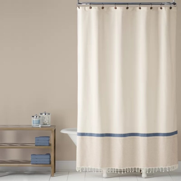 Fringe Border 100 Cotton Shower Curtain & Joss Main