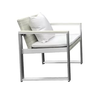 outdoor aluminum chairs blue dining cast patio furniture wayfair laughlin exquisitely handsome anodized upholstered chair with cushion
