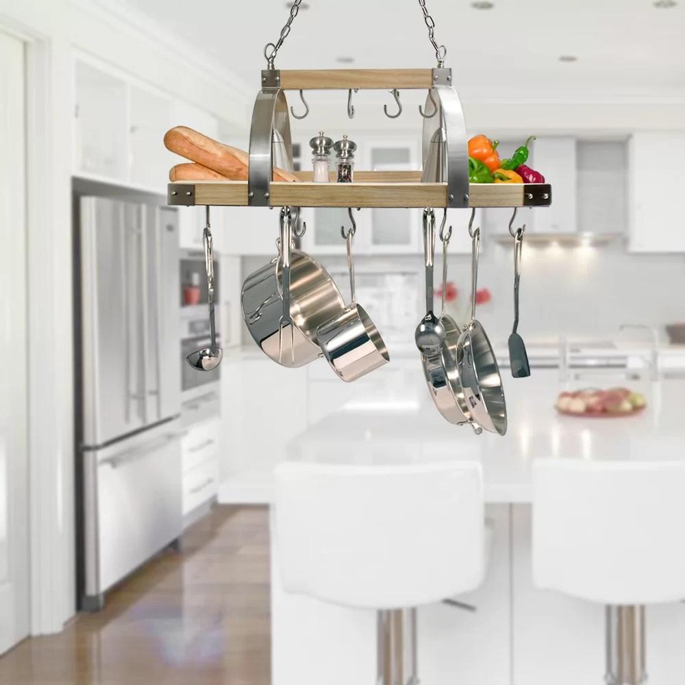 kitchen pot rack pendant lighting 17 stories 2 light wood reviews wayfair