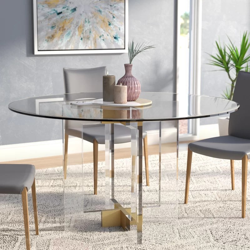 Willa Arlo Interiors Gosta Round Glass Dining Table