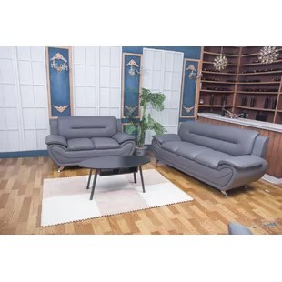grey leather living room set tuscan rooms sets you ll love wayfair ca
