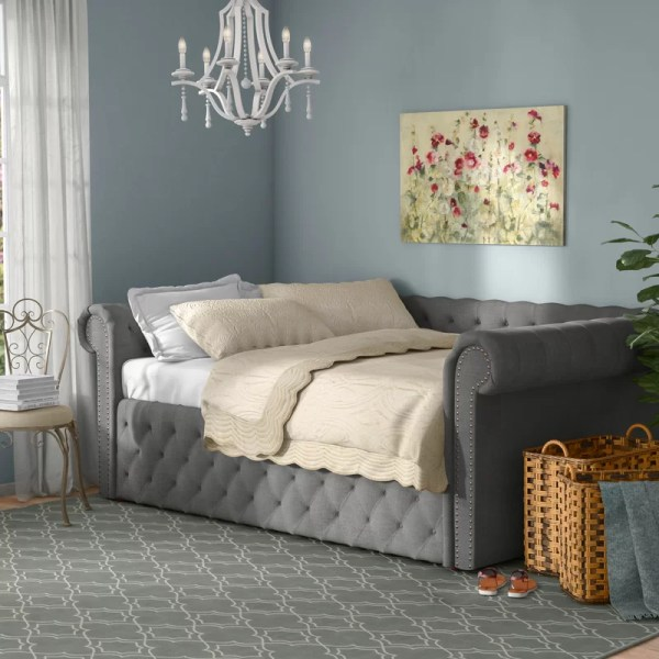 Three Posts Gowans Wood Button Tufted Linen Daybed