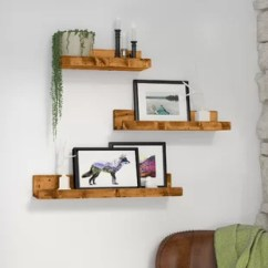 Shelves Living Room Wall Decals Stickers Floating Hanging You Ll Love Wayfair Atterberry Rustic Luxe 3 Piece Shelf Set