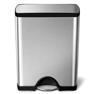 13 gallon kitchen trash can cabinets glass doors cans you ll love wayfair rectangular step brushed stainless steel