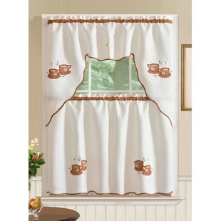 kitchen curtain sets cabinets organizers curtains coffee theme wayfair mayer 3 piece set