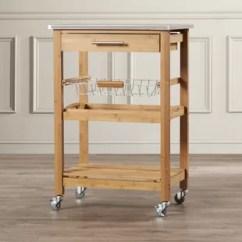 Oak Kitchen Cart Outdoor Patio Honey Wayfair Ca Arbour Oaks With Stainless Steel Top