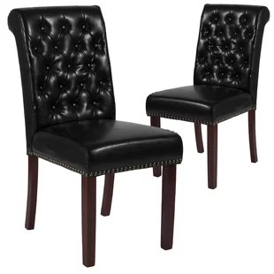 leather kitchen chairs double anti gravity chair genuine dining you ll love wayfair fransen upholstered set of 2