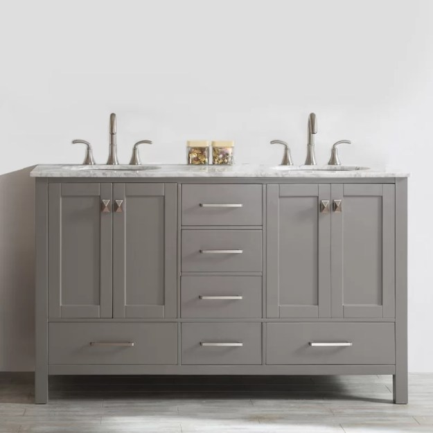 "beachcrest home newtown 60"" double bathroom vanity & reviews 