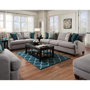 gray and turquoise living room decorating a long wall in grey sets you ll love wayfair rosalie configurable set