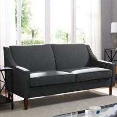 72 Lancaster Leather Sofa White Modern Sleeper Apartment Inch Wayfair Macy