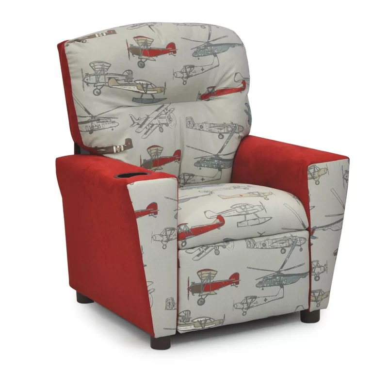 KidzWorld Mixy Vintage Airplanes Kids Cotton Recliner