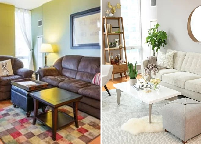 dark wood furniture living room decorating ideas designing layout before after a lightened up wayfair if your home is in need of fresh look for spring take easy inspiration from this bright transformation the and