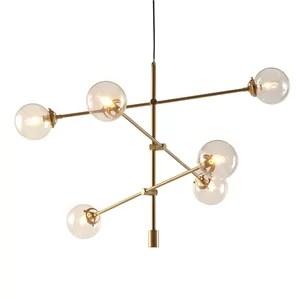 Cyrus Sputnik Modern Chandelier With 6 Oversized Bulbs Antique Gold Finish