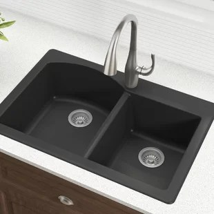 gray kitchen sink and bathroom remodeling granite sinks you ll love wayfair quickview black