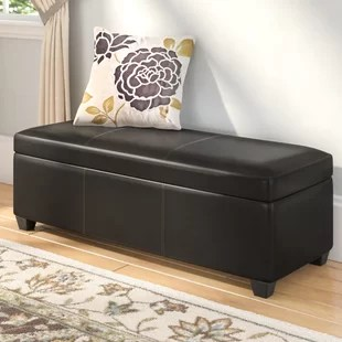 chocolate brown leather sectional sofa with 2 storage ottomans hay mag pris poufs wayfair quickview