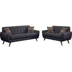 Modern Retro Sofa And Loveseat Velvet Maintenance Mercury Row Bice Set