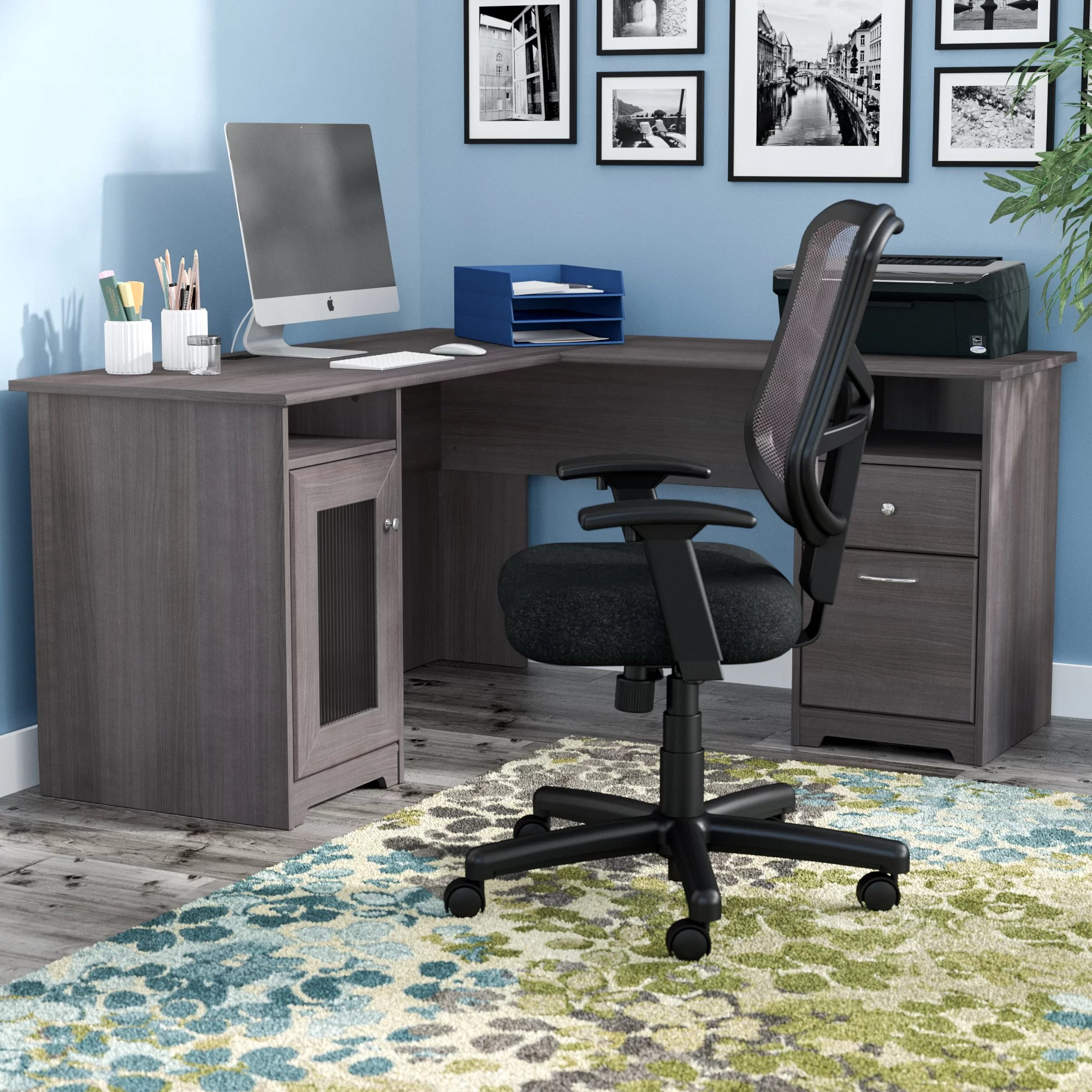 computer desk and chair set comfortable chairs for gaming red barrel studio hillsdale l shaped reviews wayfair