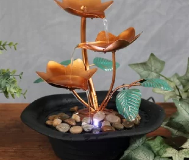 Wyoming Resin Metal Blossom Cascading Tabletop Fountain With Light