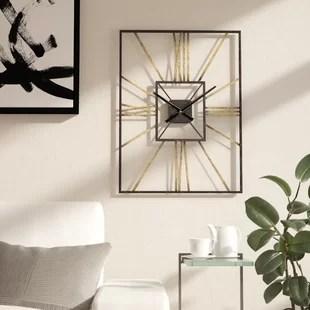 living room clocks next ideas with cherry wood floors oversized wall you ll love wayfair dillwyn mid century clock
