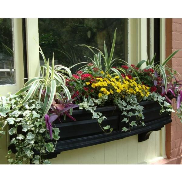 Black Outdoor Window Box Planter