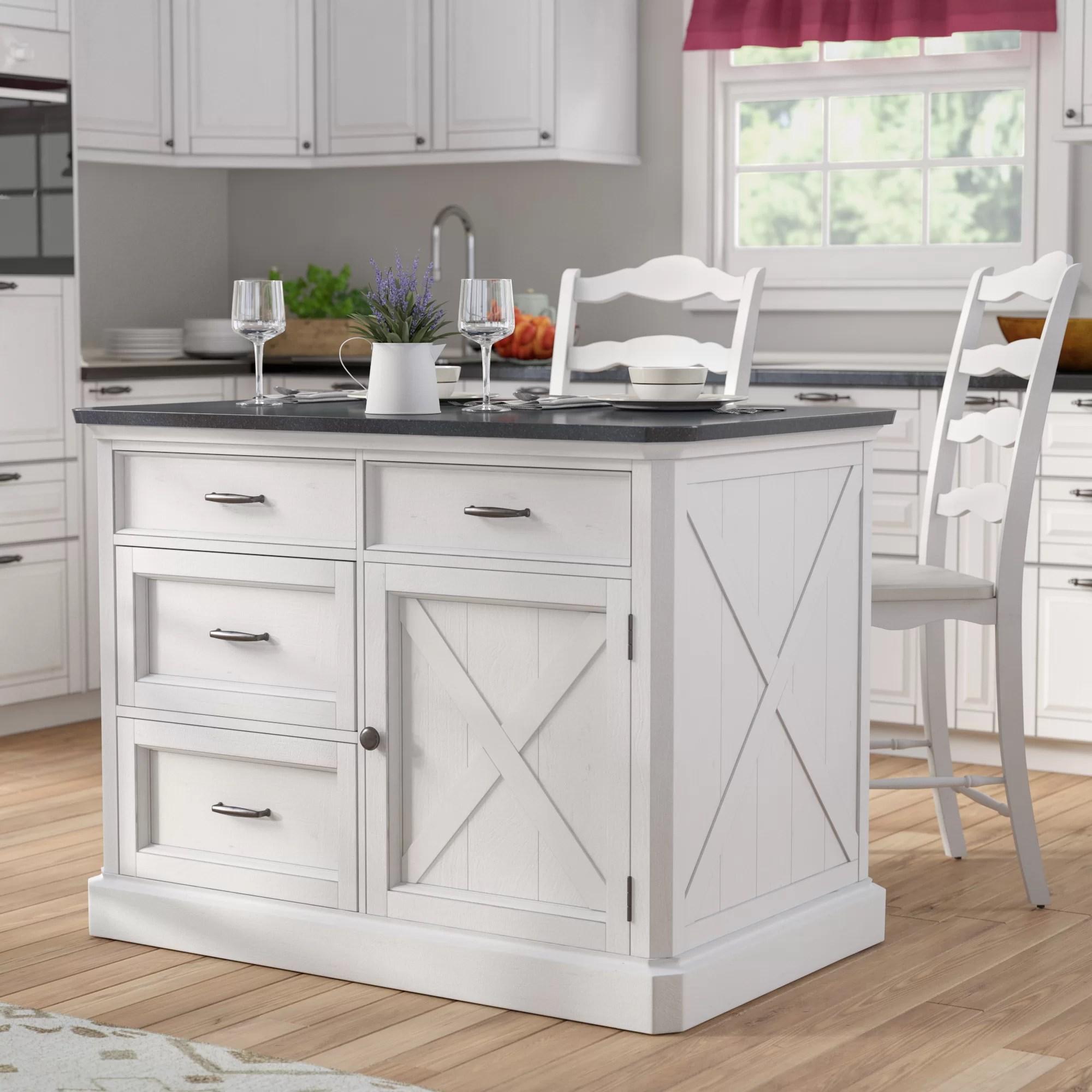 3 piece kitchen set curtain panels island wayfair ca moravia with engineered quartz top