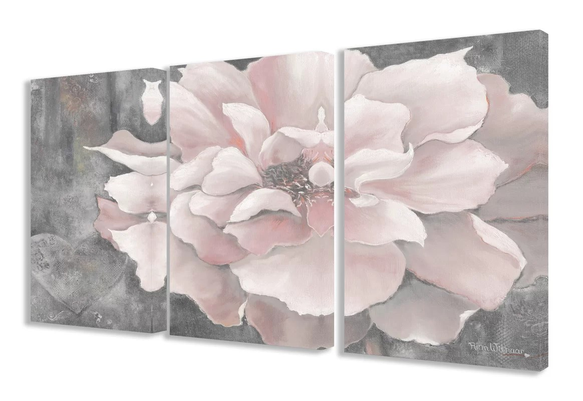 Lark Manor Pastel Pink Peony 3 Piece Painting Print Set