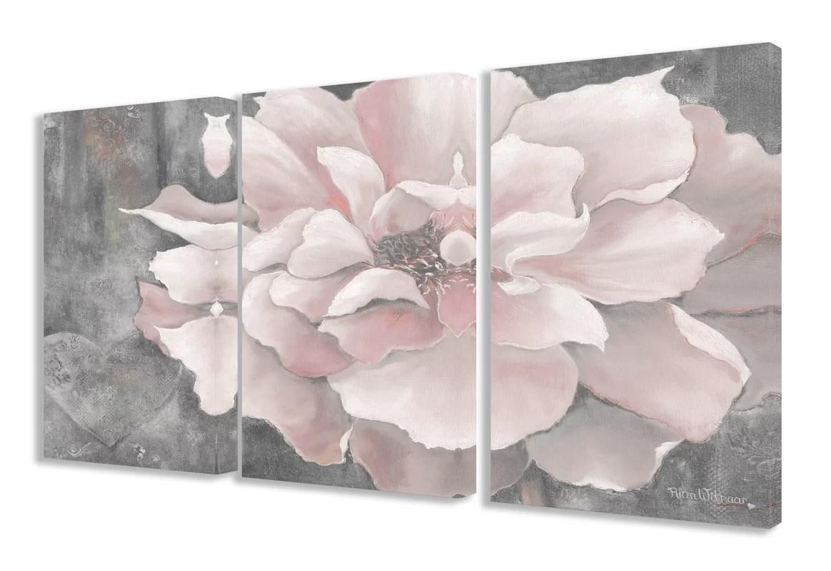 Lark Manor Pastel Pink Peony 3 Piece Painting Print Set