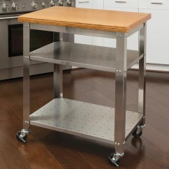 Kitchen Work Tables Coffee Color Cabinets Red Barrel Studio Irene Table Cart With Bamboo Top