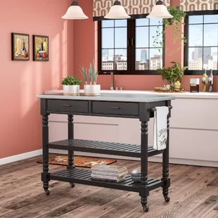 metal kitchen island pan stainless steel islands carts you ll love wayfair quickview