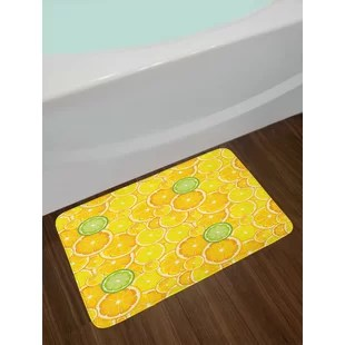 lemon kitchen rug ceramic canister sets yellow wayfair white and green bath