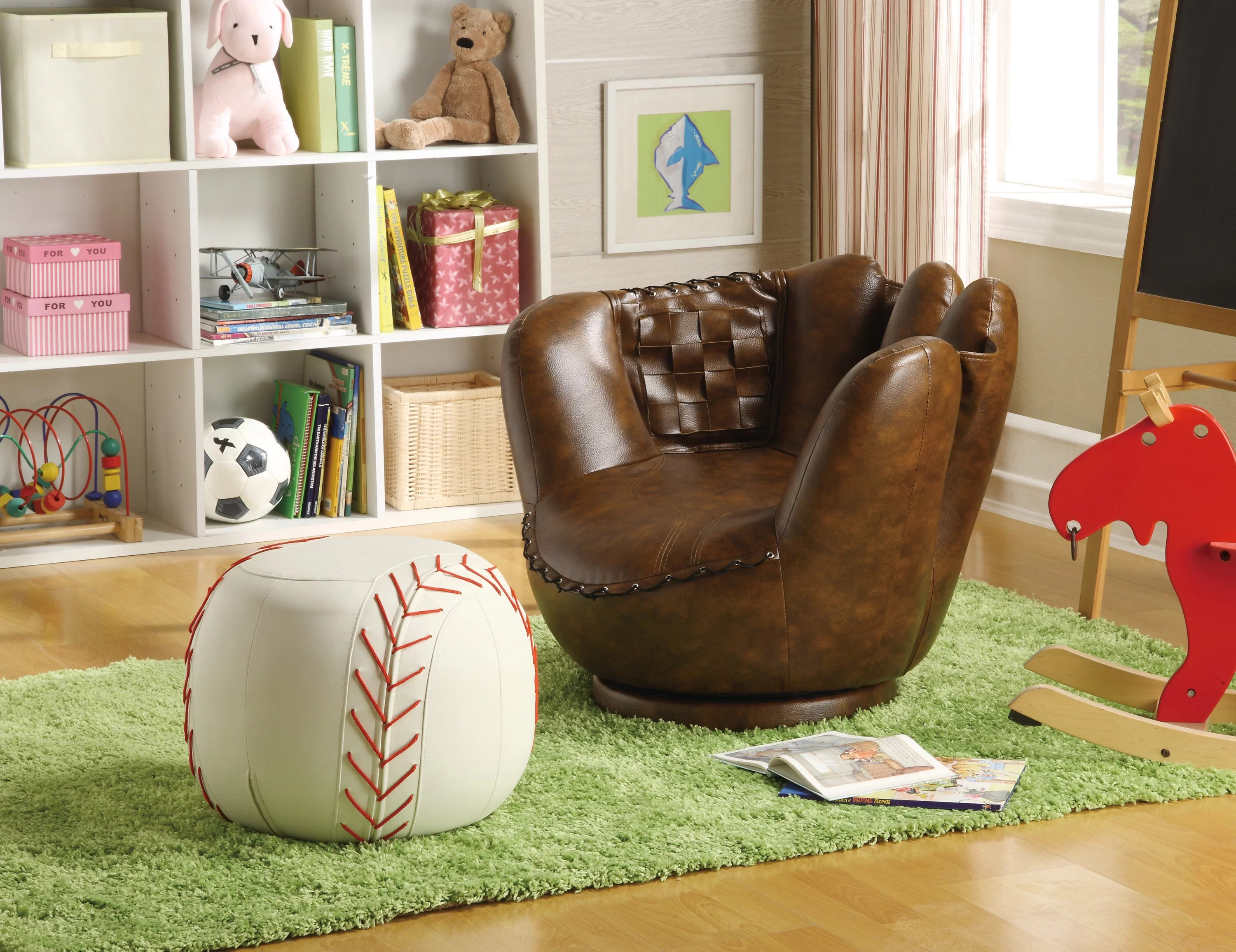 Leather Chair And Ottoman Baseball Glove Kids Faux Leather Chair And Ottoman