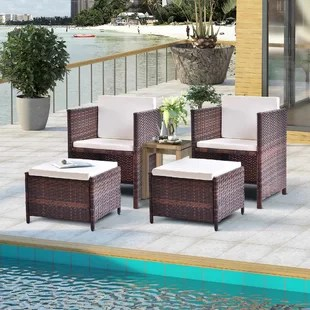 patio chairs with ottomans plastic sheet for under high chair outdoor ottoman wayfair isaac cushions