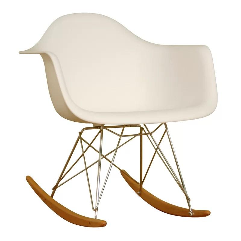 danish modern rocking chair suede dining table chairs baxton studio mid century joss main