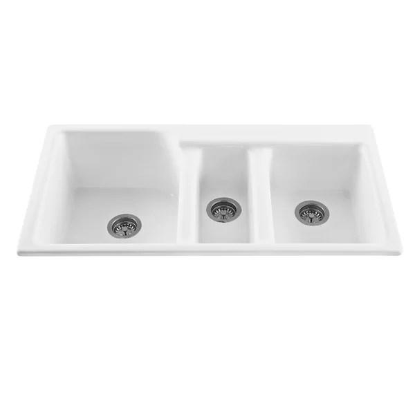 triple kitchen sink daisy decor triumph 42 l x 22 25 w bowl reviews allmodern