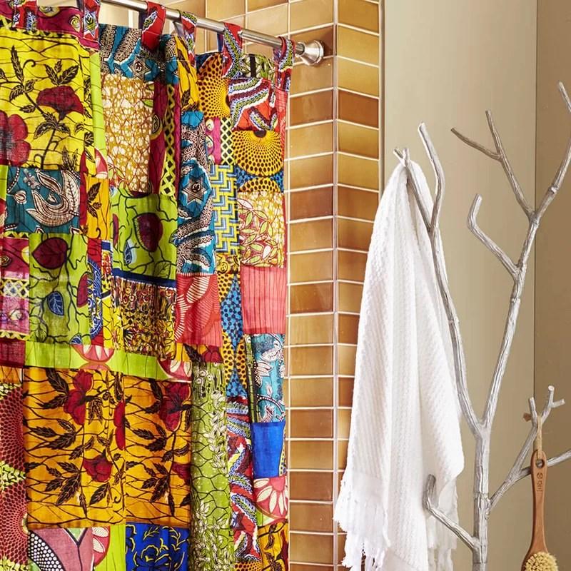VivaTerra Fabric African Print Patchwork Shower Curtain Amp Reviews Wayfair
