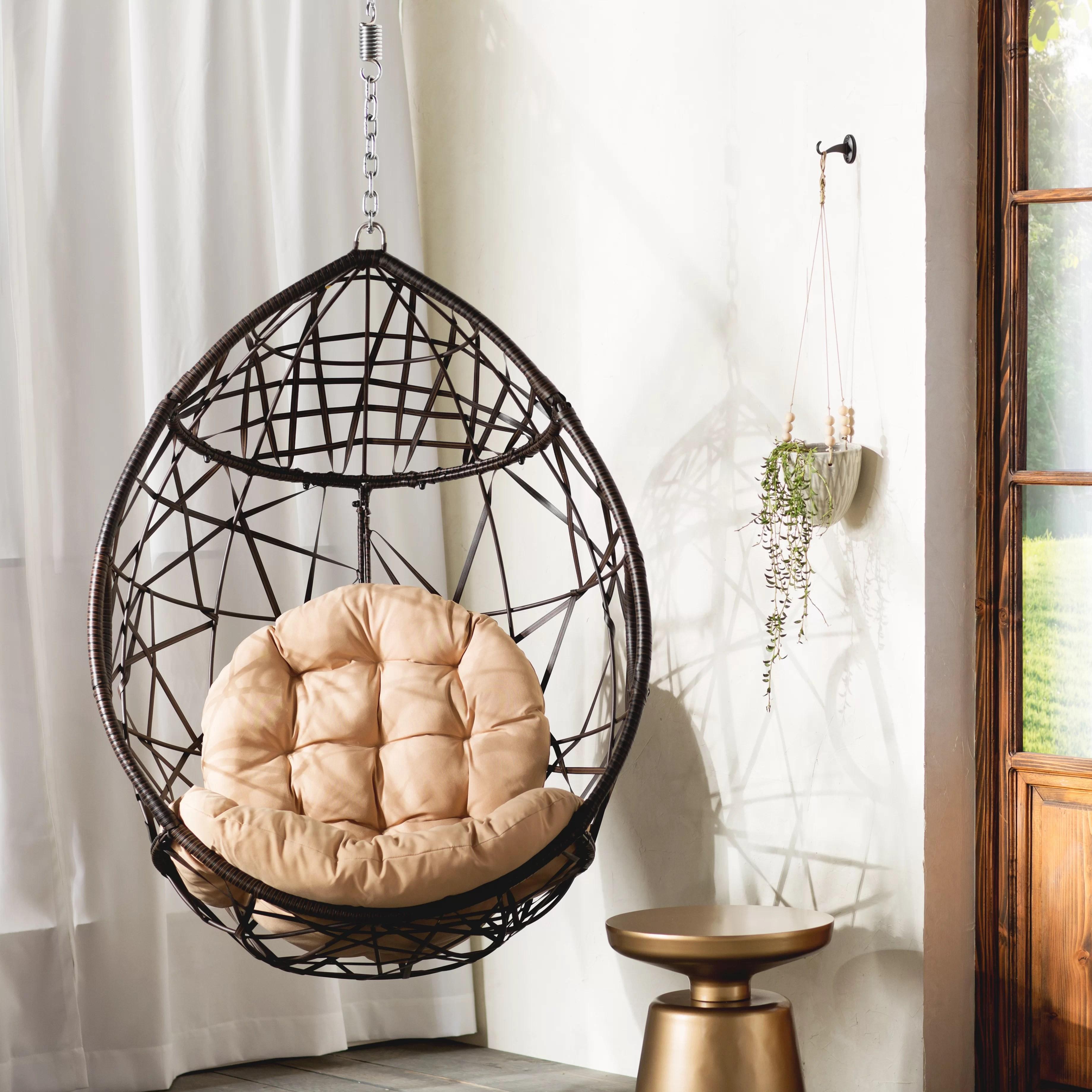 teardrop swing chair leather recliner modern mistana destiny tear drop pvc with stand wayfair